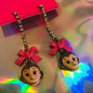 Betsey Johnson monkey earrings pink bow crystal